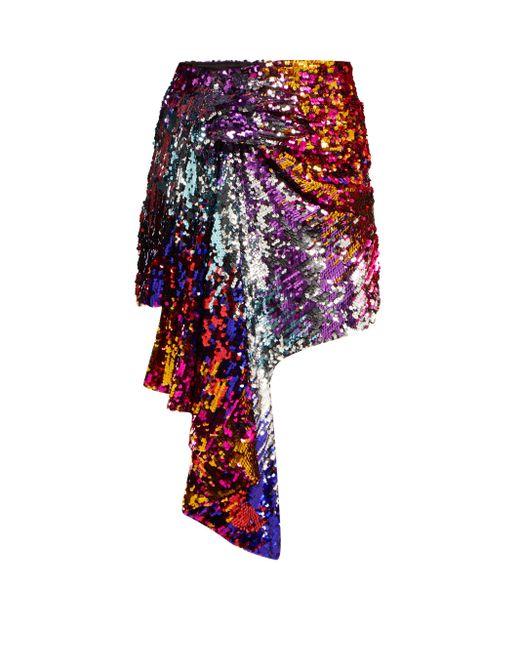 Halpern ドレープ スパンコール ミニスカート Multicolor