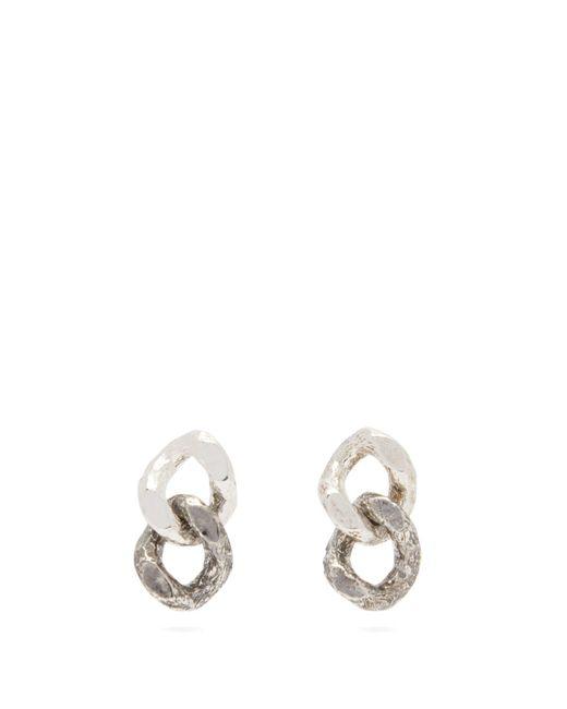 Pearls Before Swine Metallic Two Tone Chain Link Sterling Silver Earrings for men
