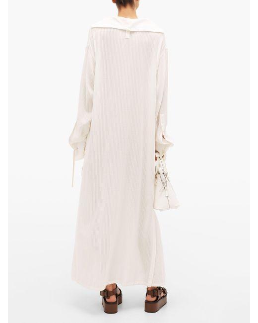 Robe-chemise à col marin en gaze à laçage Ann Demeulemeester en coloris White