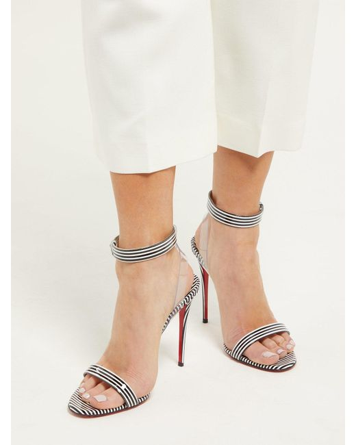 superior quality 67ebf 35e35 Women's Black Jonatina 100 Striped Pvc & Leather Sandals