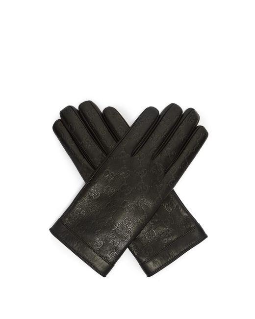 Gants en cuir à logo estampé Gucci pour homme en coloris Black