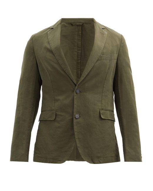 メンズ Officine Generale Officine Générale コットンリネンツイル シングルスーツジャケット Green