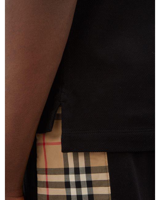 メンズ Burberry エディ Tbモノグラム コットンピケポロシャツ Black