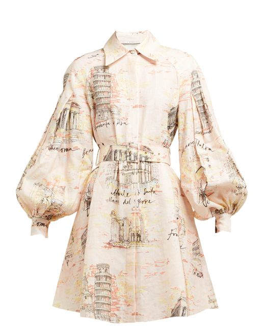 Emilia Wickstead Natural Rowena Belted Italy Print Dress