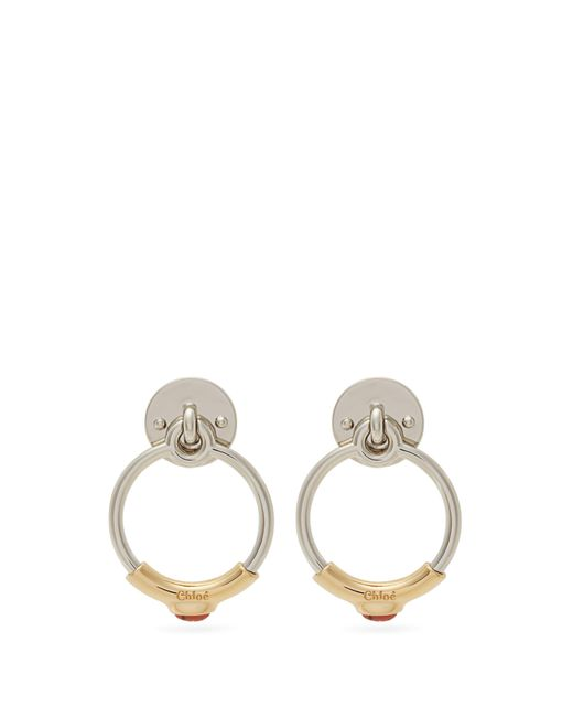 Chloé Metallic Drop Hoop Earrings