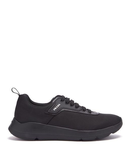 Prada - Black Logo Embellished Knitted Low Top Trainers for Men - Lyst