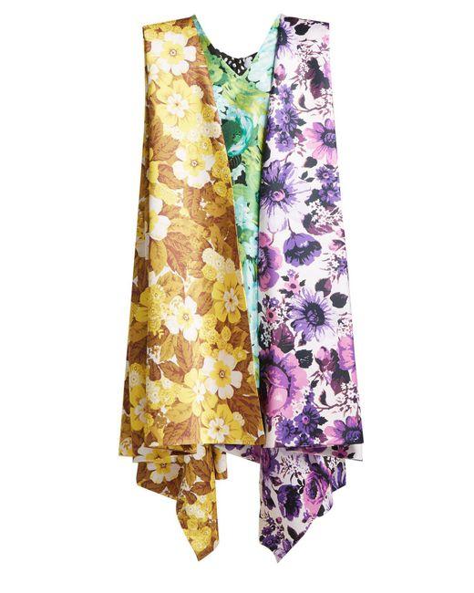 Richard Quinn - Multicolor Contrast Floral-print Crepe Mini Dress - Lyst