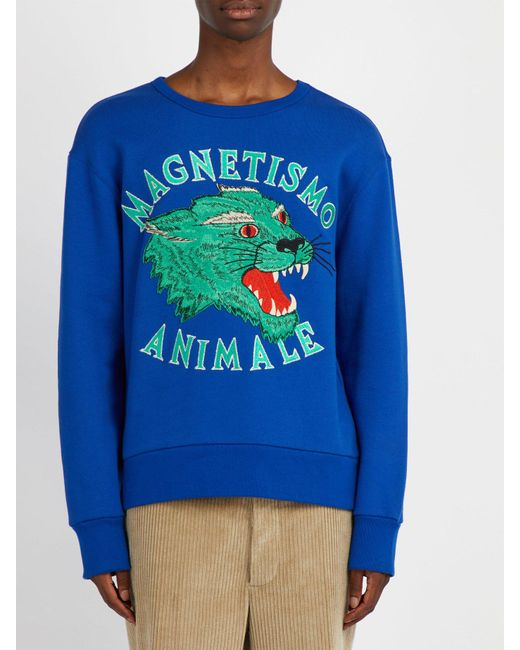 6023b446ce4 ... Gucci - Blue Panther Embroidered Cotton Sweatshirt for Men - Lyst ...