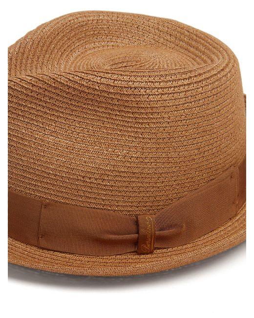 b8ea1fc6ded ... Borsalino - Brown Block Colour Panama Hat for Men - Lyst ...