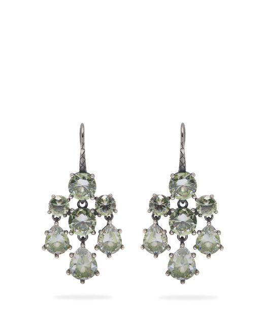 Bottega Veneta - Green Chandelier Oxidised Silver Earrings - Lyst