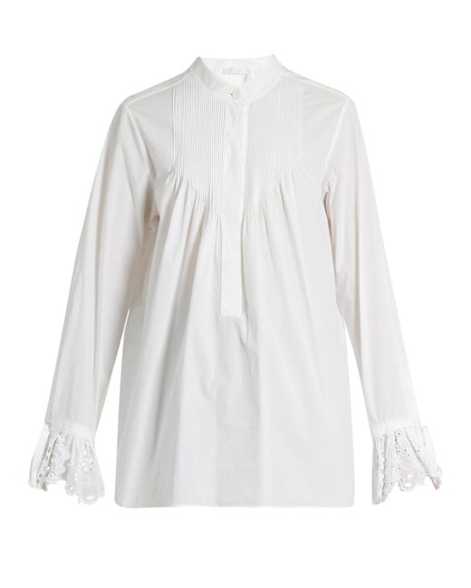 Chloé | White Pintucked Cotton-poplin Blouse | Lyst