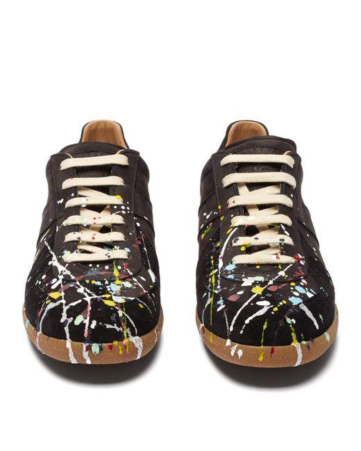 edaab4ebd5c Men's Black Replica Paint Splatter Suede Sneakers