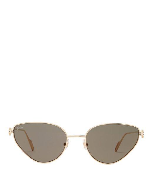 Cartier Multicolor Smoked Lens Cat Eye Metal Sunglasses