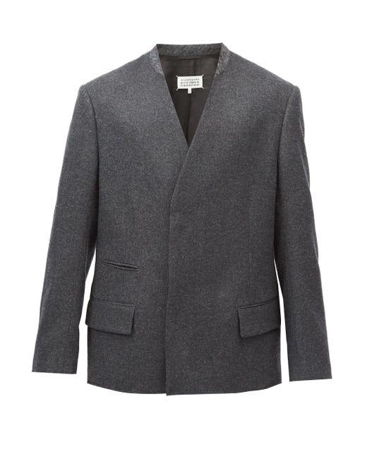 メンズ Maison Margiela ノーカラー ウールダブルジャケット Gray