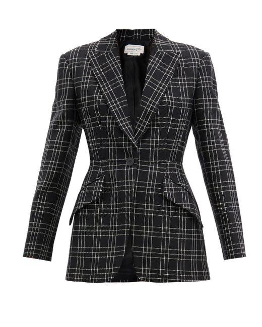 Alexander McQueen チェック ウールツイルスーツジャケット Black