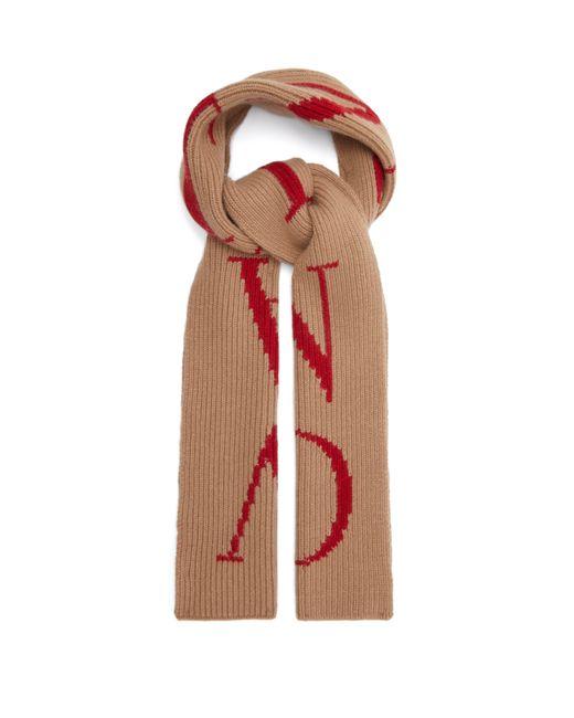 Valentino Natural Logo-intarsia Wool-blend Scarf for men