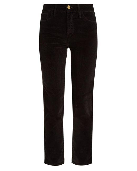 FRAME | Black Le Velveteen Mid-rise Straight-leg Jeans | Lyst