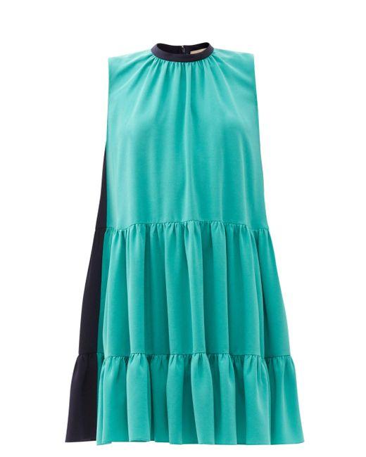 Roksanda アキサ カラーブロック ティアードクレープドレス Blue