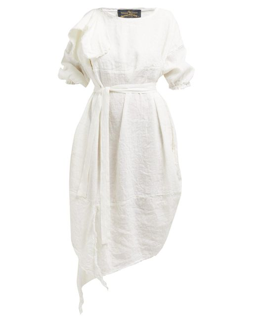 Vivienne Westwood Anglomania White Balloon Raw-edged Linen-blend Midi Dress