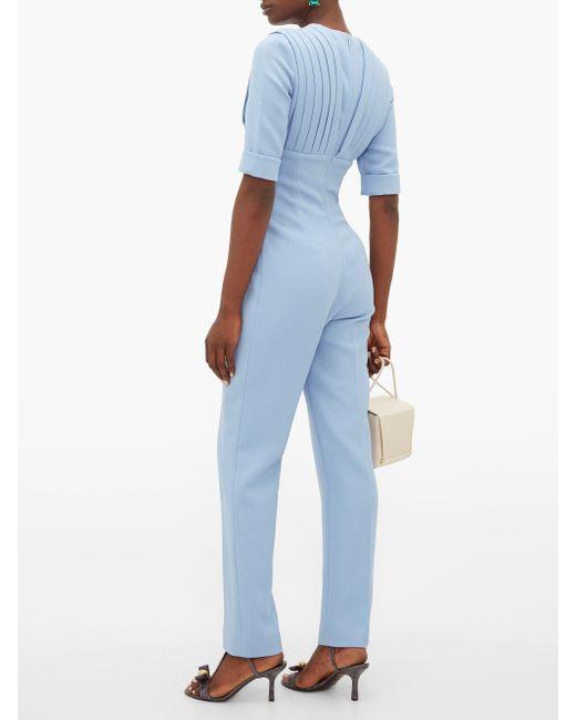 Emilia Wickstead Bella ウールクレープ プリーツジャンプスーツ Blue