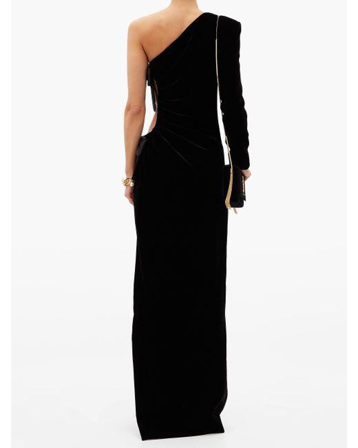 Saint Laurent ワンショルダー ベルベットドレス Black