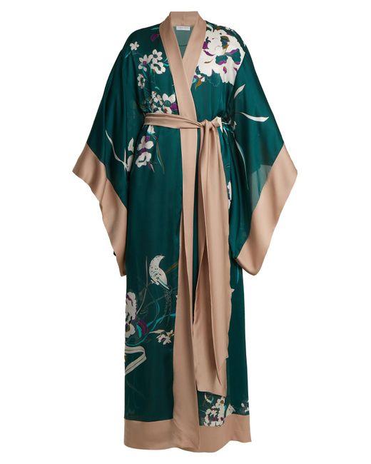 Carine Gilson - Multicolor Floral-print Silk-satin Kimono Robe - Lyst