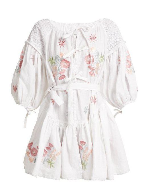 Balloon-sleeve linen peasant dress Innika Choo Outlet Largest Supplier 9YTxp
