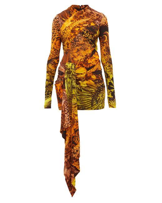 Halpern アニマルプリント ストレッチジャージーミニドレス Multicolor