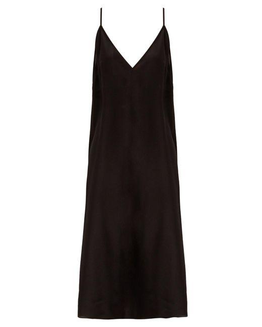 Raey - Black Fitted Deep V Neck Silk Slip Dress - Lyst