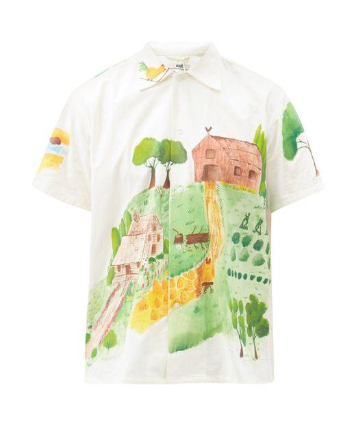 メンズ Bode カントリーサイドペイント ショートスリーブ コットンシャツ Multicolor