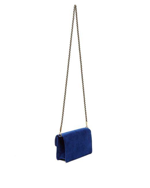 9383f5b69080 ... Gucci - Blue Broadway Crystal G Velvet Cross Body Bag - Lyst ...