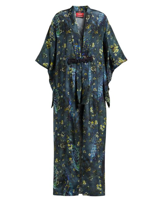 F.R.S For Restless Sleepers Blue Edone Peacock Print Satin Robe