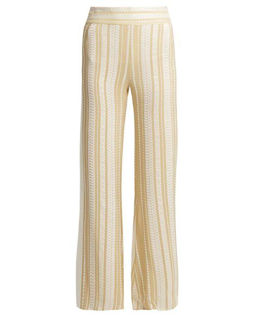 Zeus + Dione Natural Alcyone Striped Silk Blend Trousers