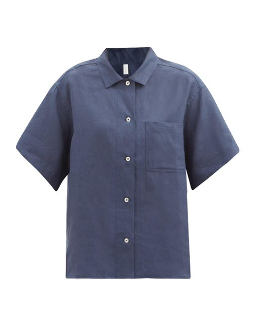 Rossell England パッチポケット リネン パジャマシャツ Blue