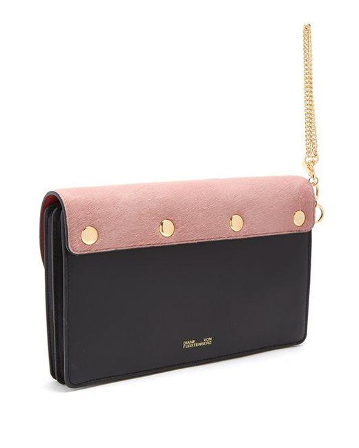 Saddle bi-colour leather and calf-hair clutch Diane Von F vQU0Sli7I