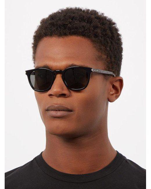 bf8c762bf27 ... Saint Laurent - Black Round Acetate Sunglasses for Men - Lyst ...