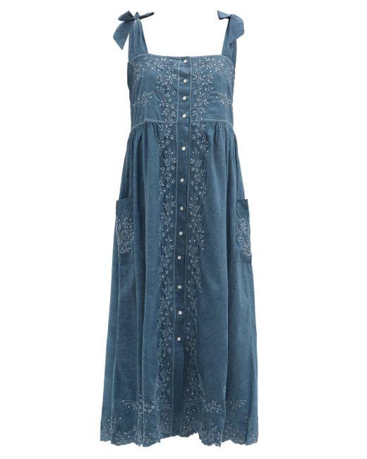 Juliet Dunn エンブロイダリー コットンシャンブレードレス Blue