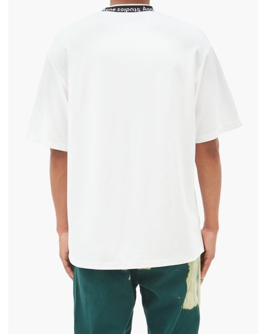 メンズ Acne エクストール ロゴネック Tシャツ White