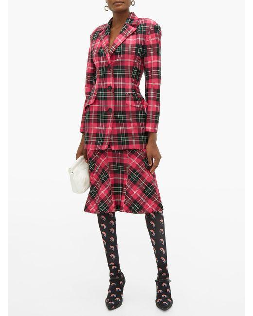 MARINE SERRE デニム&タータンチェック ペンシルスカート Multicolor