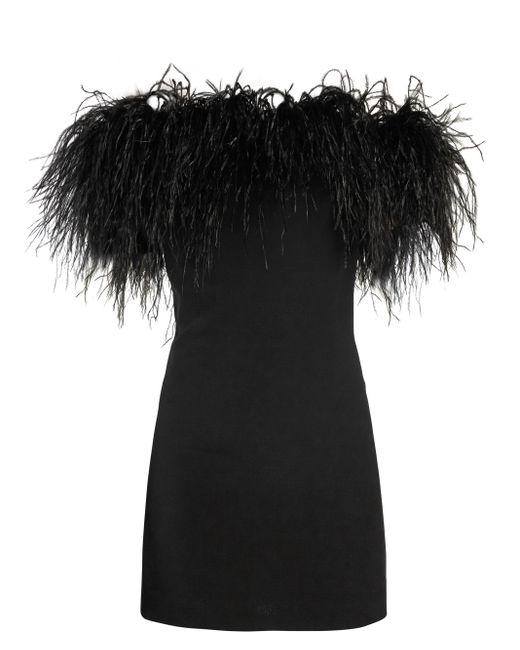 Robe à épaules dénudées bordée de plumes Saint Laurent en coloris Black