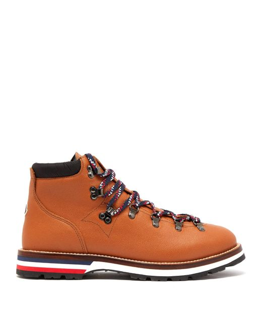Moncler Brown Peak Lace-up Leather Boots for men