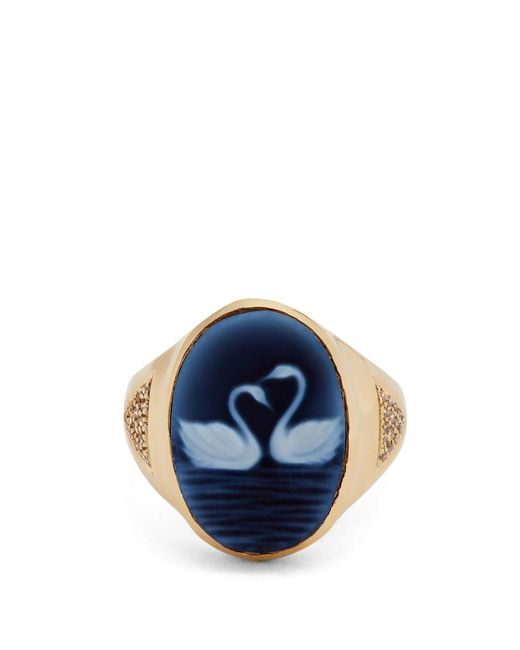 Jacquie Aiche - Blue Diamond, Agate & Yellow-gold Ring - Lyst