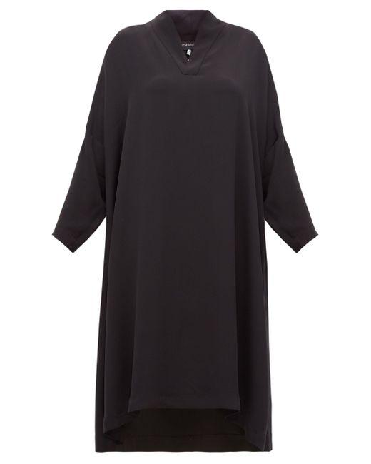 Eskandar Vネック シルククレープドレス Black