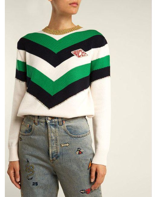 53647e9b25a5b7 ... Gucci - Green Chevron Striped Wool Sweater - Lyst ...