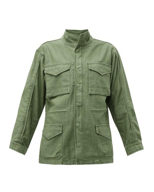 FRAME Green Drawstring-waist Cotton Military Jacket