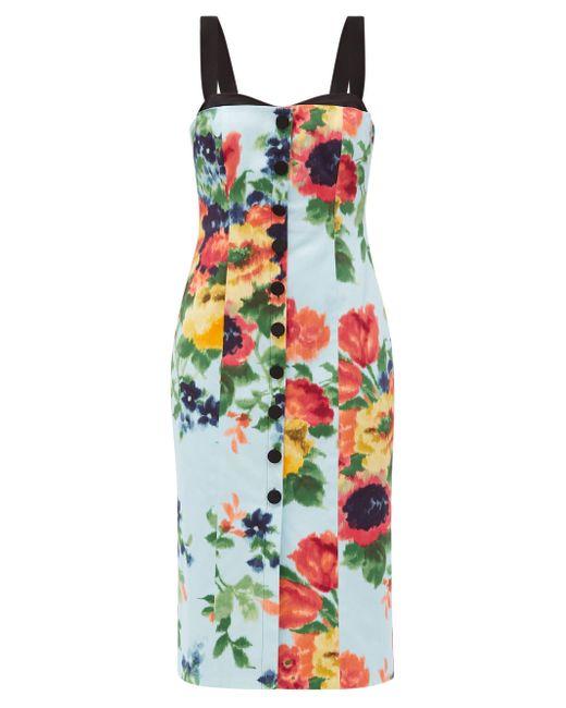 Carolina Herrera フローラル コットンサテンドレス Multicolor