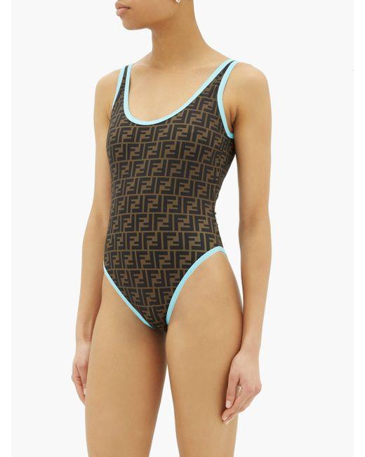 Fendi Brown Contrast-trim Ff-logo Swimsuit