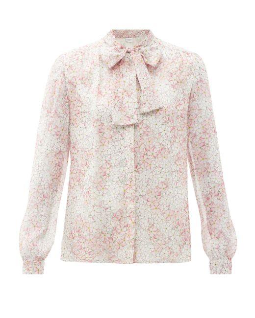 Giambattista Valli Pink Floral-print Pussy-bow Silk-chiffon Blouse