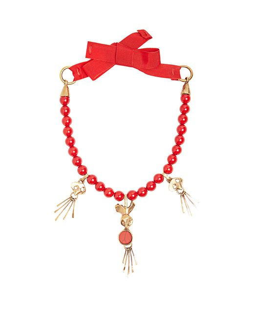 Valentino | Red Skull-pendant Beaded Necklace | Lyst