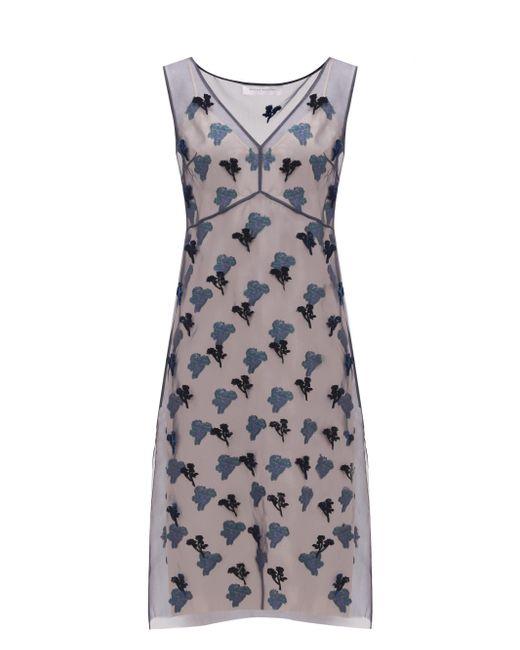 Marina Moscone フィルクーペ シルクブレンドオーガンザ ドレス Multicolor